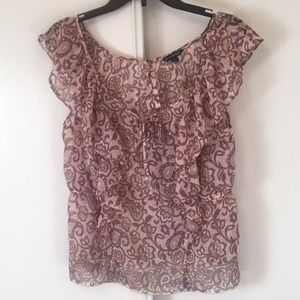 American eagle outfitters sheer ruffle blouse M